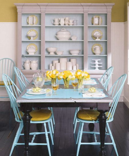 Light blue windsor chairs with a farmhouse table home  dining
