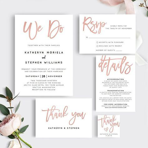 rose gold wedding invitation templates printable wedding invitation
