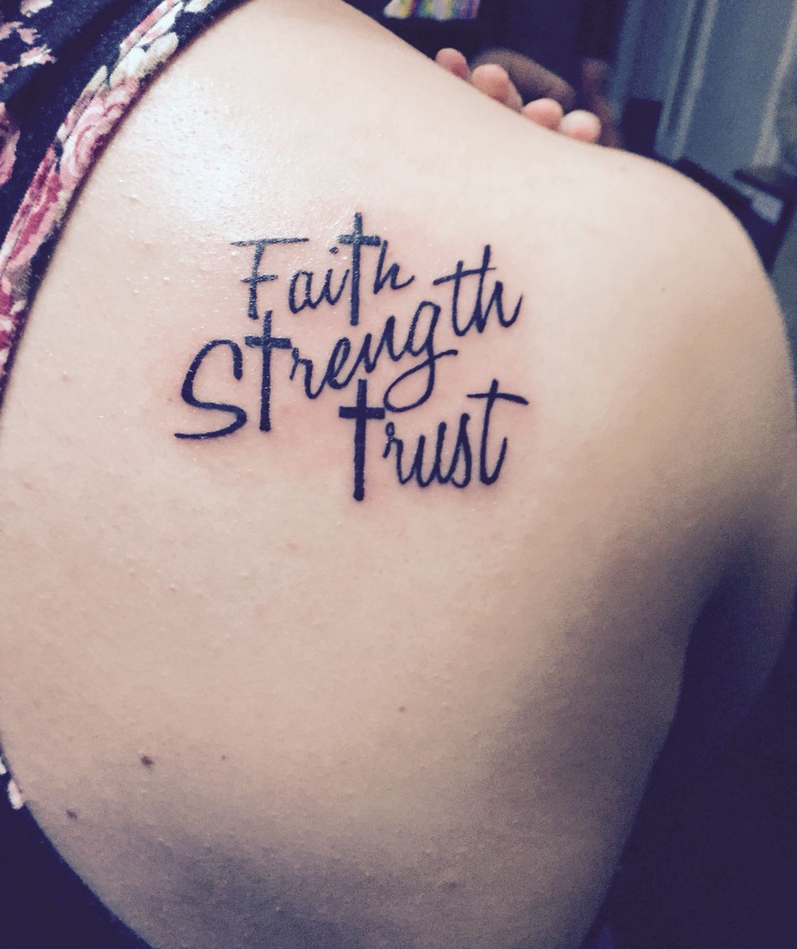 My First Tattoo Represents My Time Getting Through: Faith Strength Trust With Crosses. First Tattoo! Love It