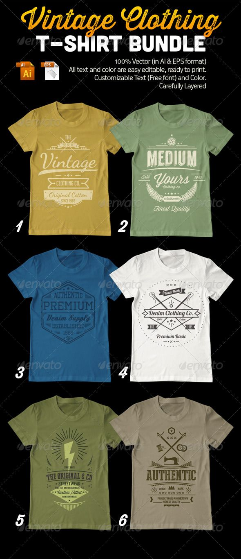 Vintage Clothing TShirt Template Vector EPS, AI Bundle