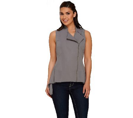 Lisa Rinna Collection Shark-Bite Hem Zip Front Vest
