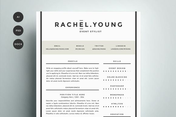 Resume Template 4 Pack CV Template by Refinery Resume Co on - resume template design