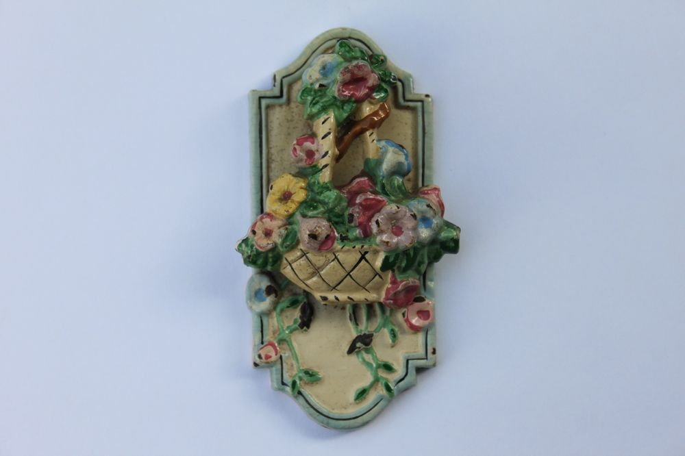 Details About Antique Cast Iron Flower Basket Door Knocker