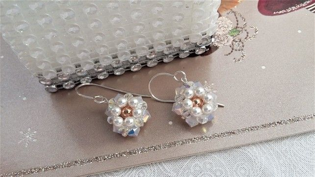 c1b30e9d7 White Daisy earrings with a rose gold centre | beautiful jewellery ...