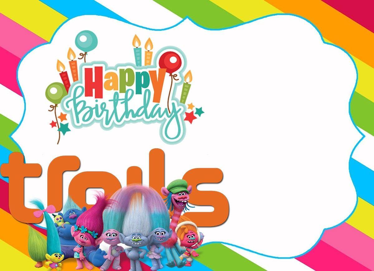 Printable Trolls Birthday Invitation Template