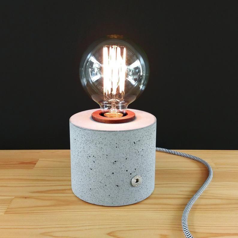 Lampara De Hormigon Edison Cilindrico Regulable Lampara Tactil Etsy In 2020 Lamp Decor Home Decor