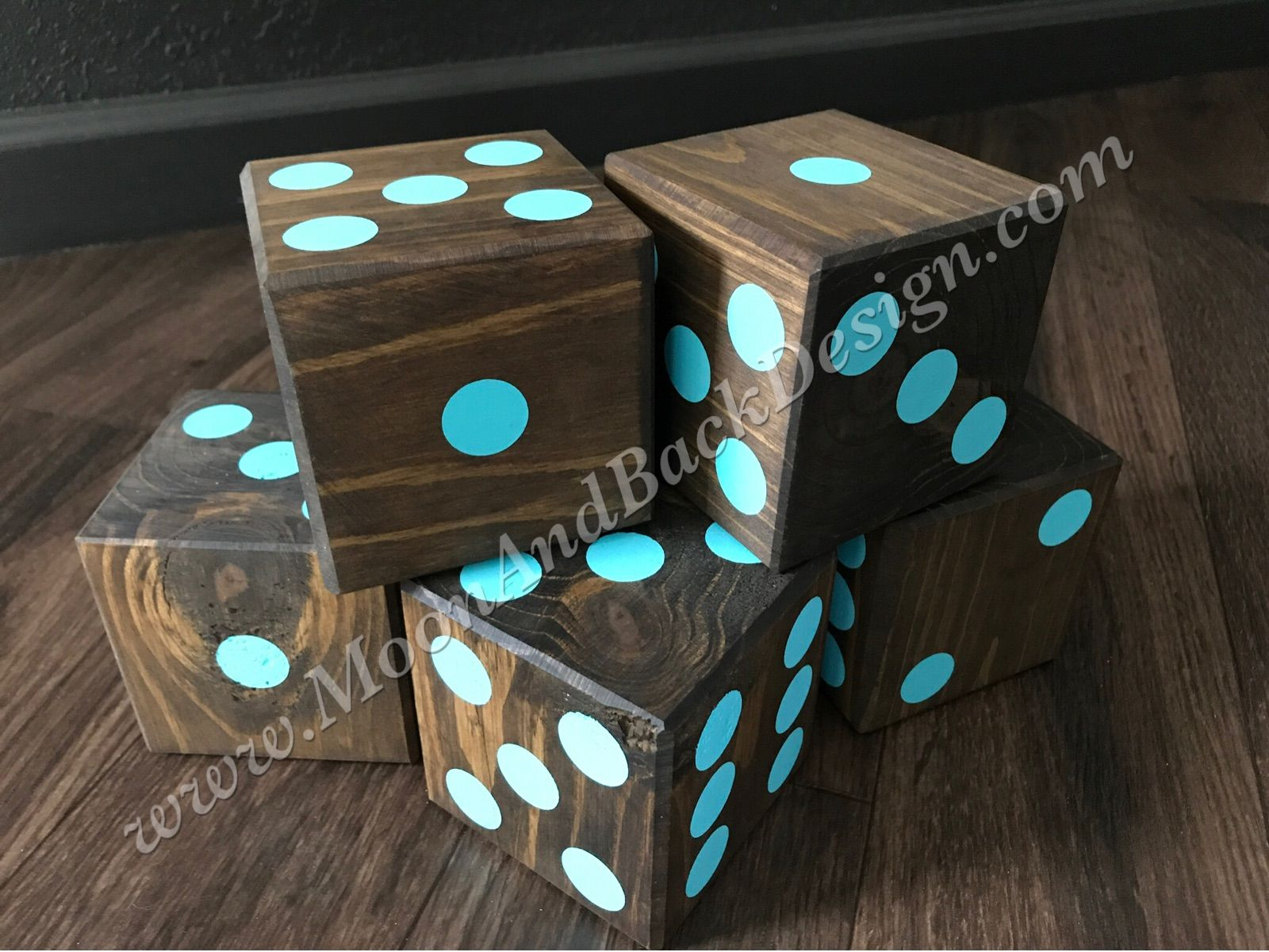 Custom made large wooden dice for outdoor yard games