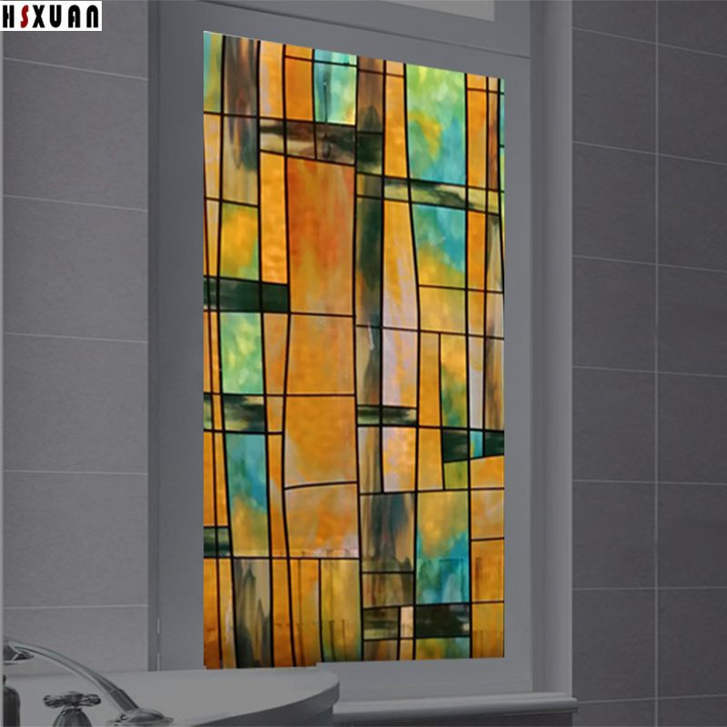 Compare Prices Waterproof Bathroom Decorative Window Film 60x100cm Frosted Square Printing Static Cling Heat Embossing