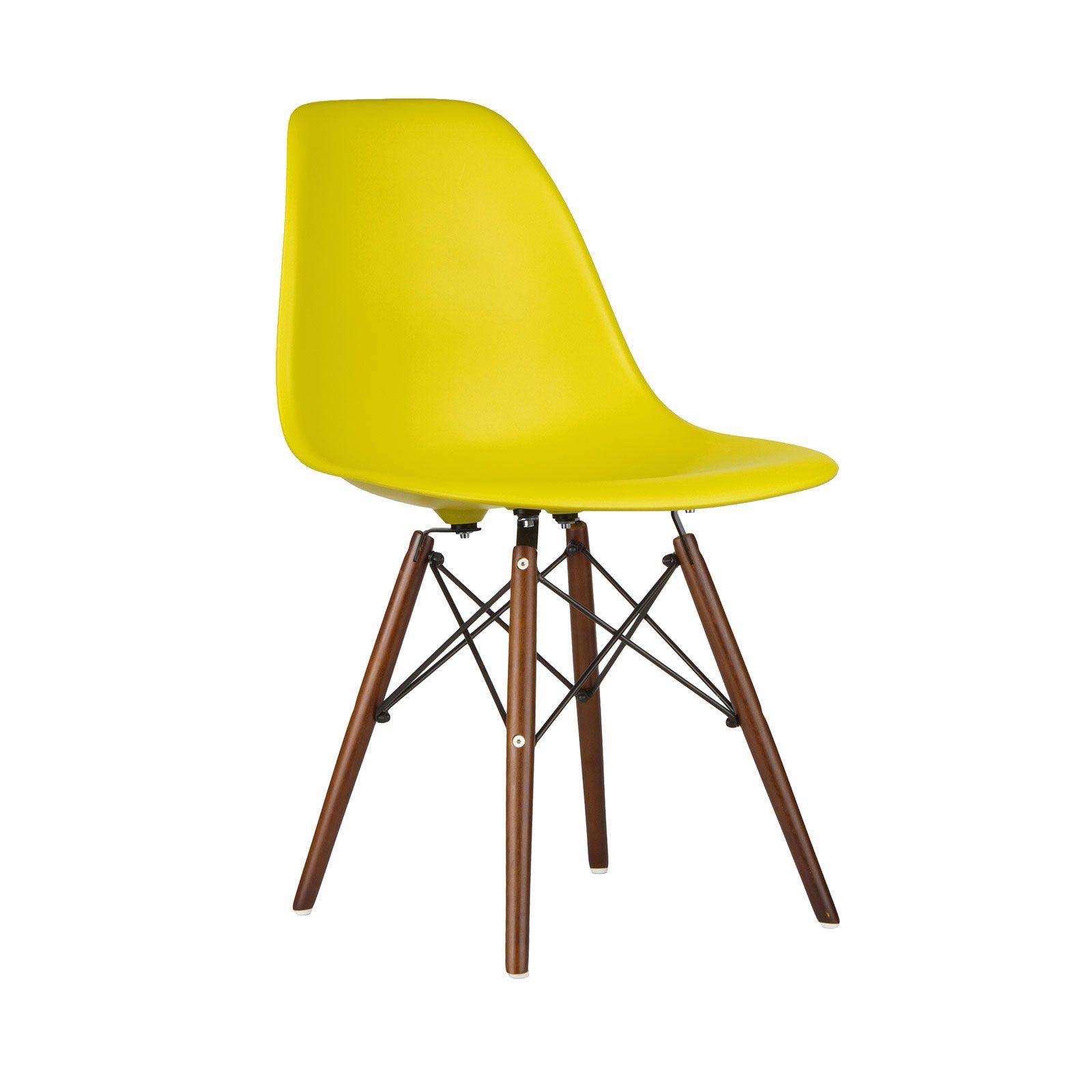 Walnut slope chair in mustard dotandbo the dining room