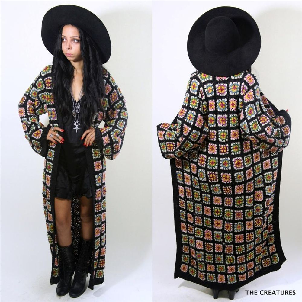 Vtg BETSEY JOHNSON Black Crochet Granny Square Kimono Duster Maxi Dress Jacket