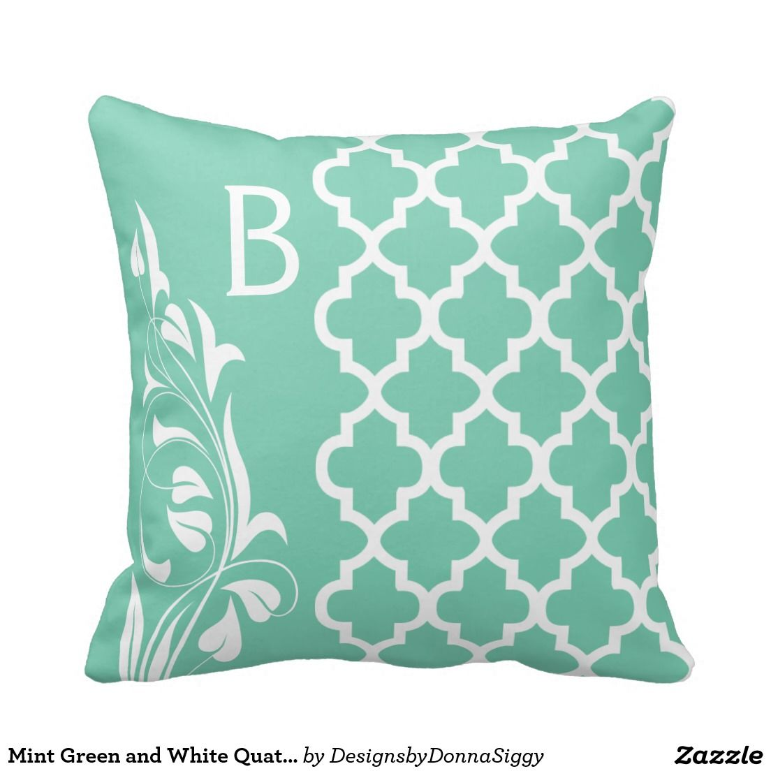 Mint Green and White #Quatrefoil Pattern Throw #Pillows #zazzlebesties #zazzle #shopping #gifts