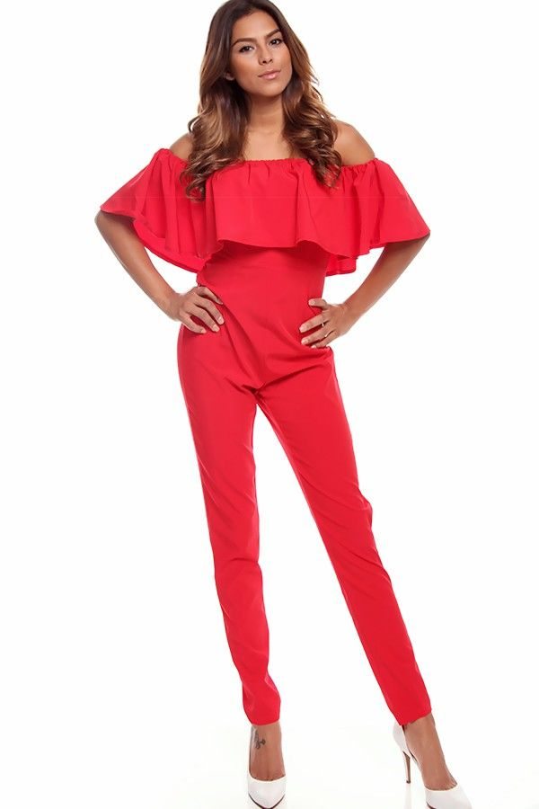 RED OFF THE SHOULDER JUMPSUIT,Sexy Jumpsuits And Rompers-Sexy ...