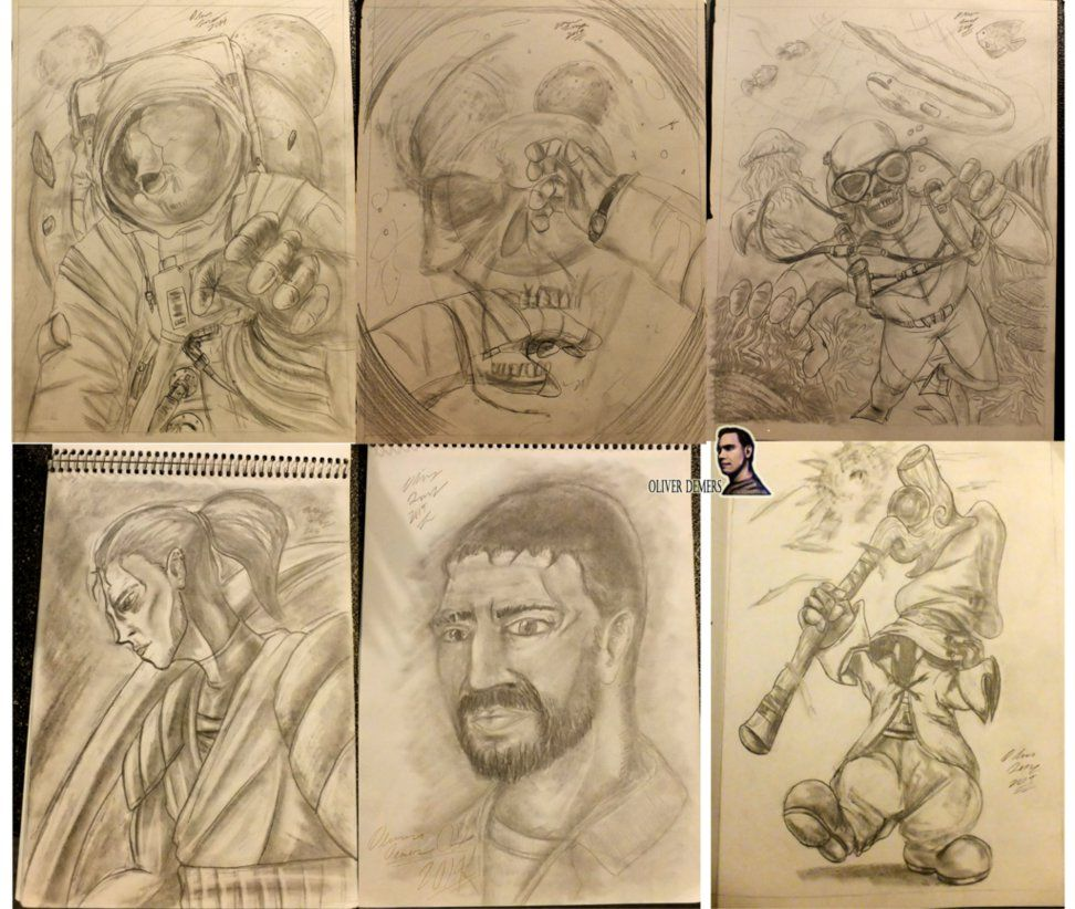 Just some recent sketches I've done in the previous year, showing everyone what I do on my spare time. The top row you might recognize as being the rough sketches of some of my previous work, and yes, that is Vivi from FF9 at the bottom right