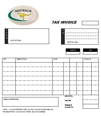 Australian Tax Invoice Template 1 Austrialian Tax Invoice - invoice template australia