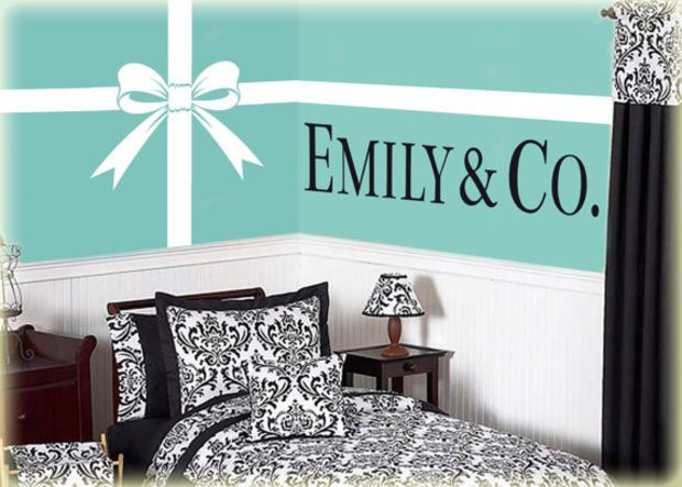 Tiffany and Co. vinyl wall art decal Bow with Ribbon Lines and ...