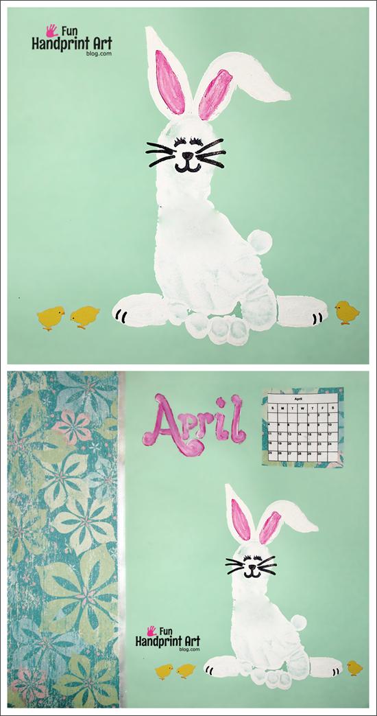 April Handprint Calendar : Footprint bunny for april s handprint calendar kids
