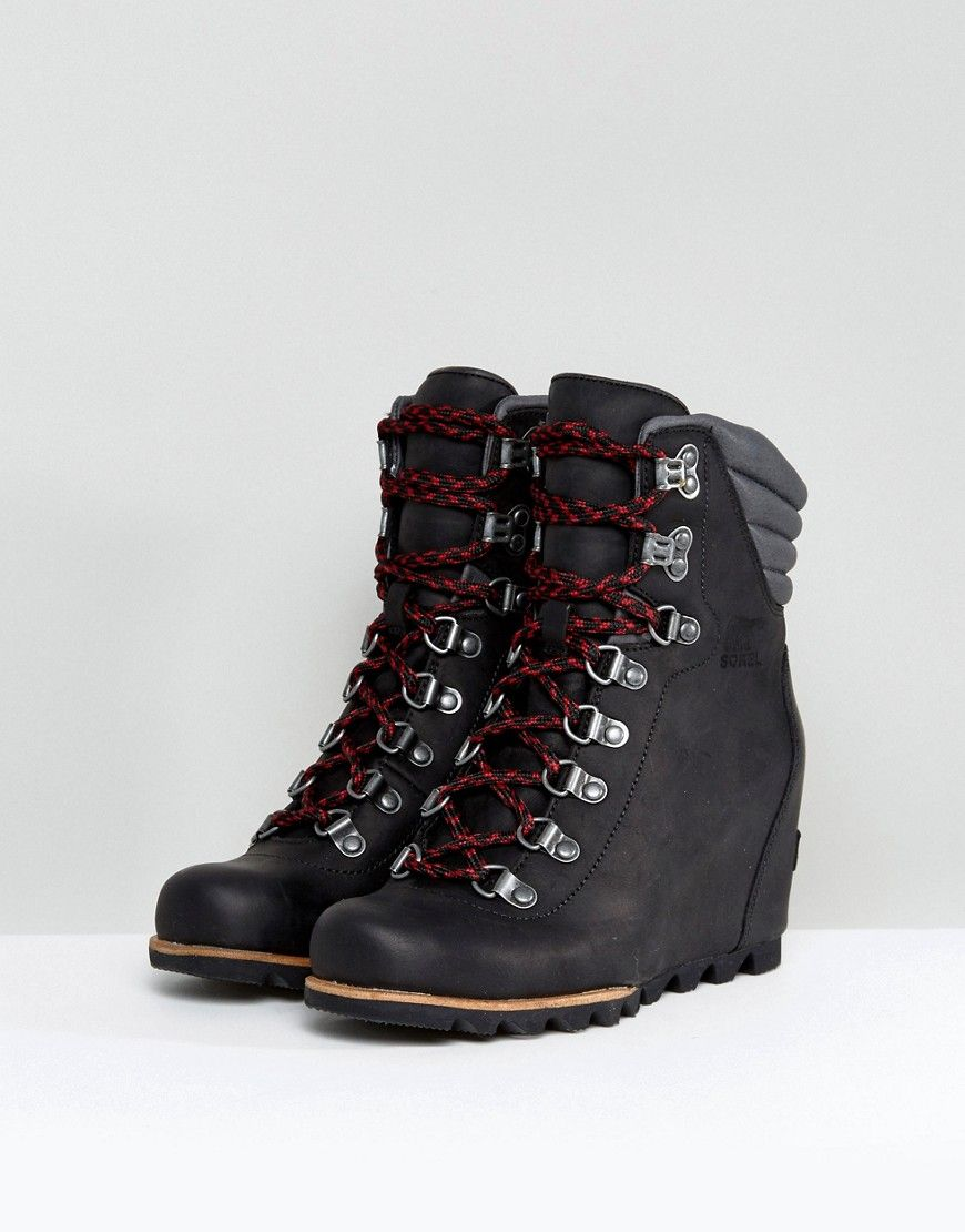 47e053bbe74 Sorel Conquest Black Wedge Lace Up Boots - Black