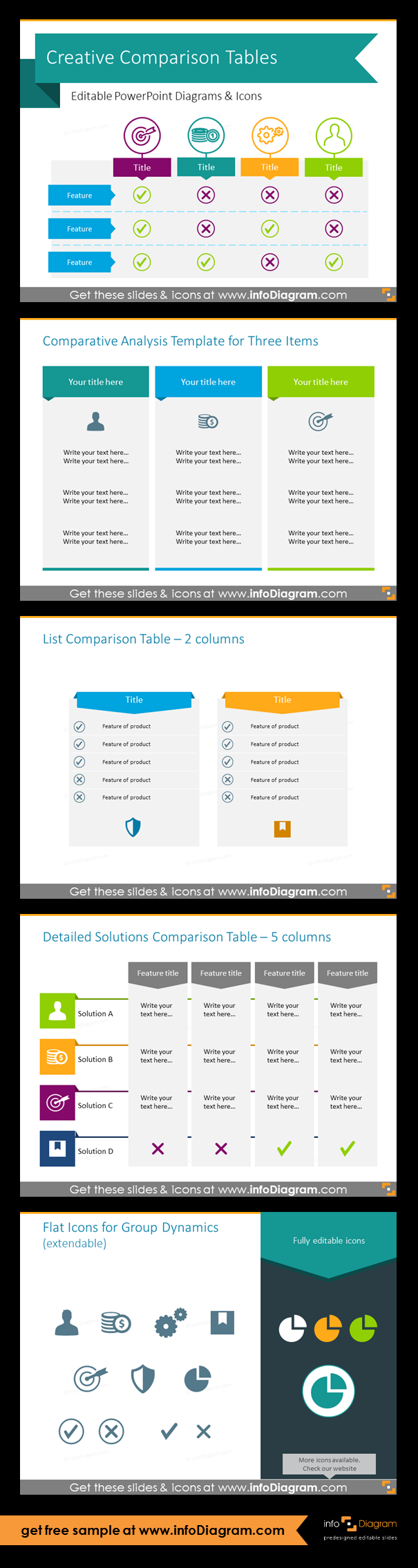 Creative Comparison Charts For Product Pricing Feature Evaluation Or Other Types Of Table Analysis All Tables Can Be Mo Powerpoint Work Infographic Templates