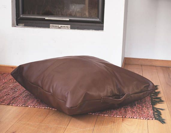 Large leather floor pillow in brown | Poufs by Morelle | Pinterest ...