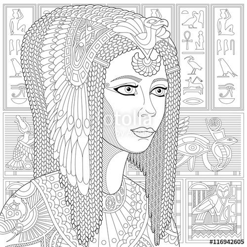 Stylized Ancient Queen Cleopatra Or Nefertiti And Egyptian Symbols Hieroglyphs On The Background Freehand Sketch For Adult Anti Stress Coloring Book