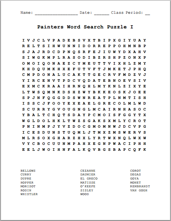 Famous Painters Word Search Puzzles Free To Print Pdf Files K