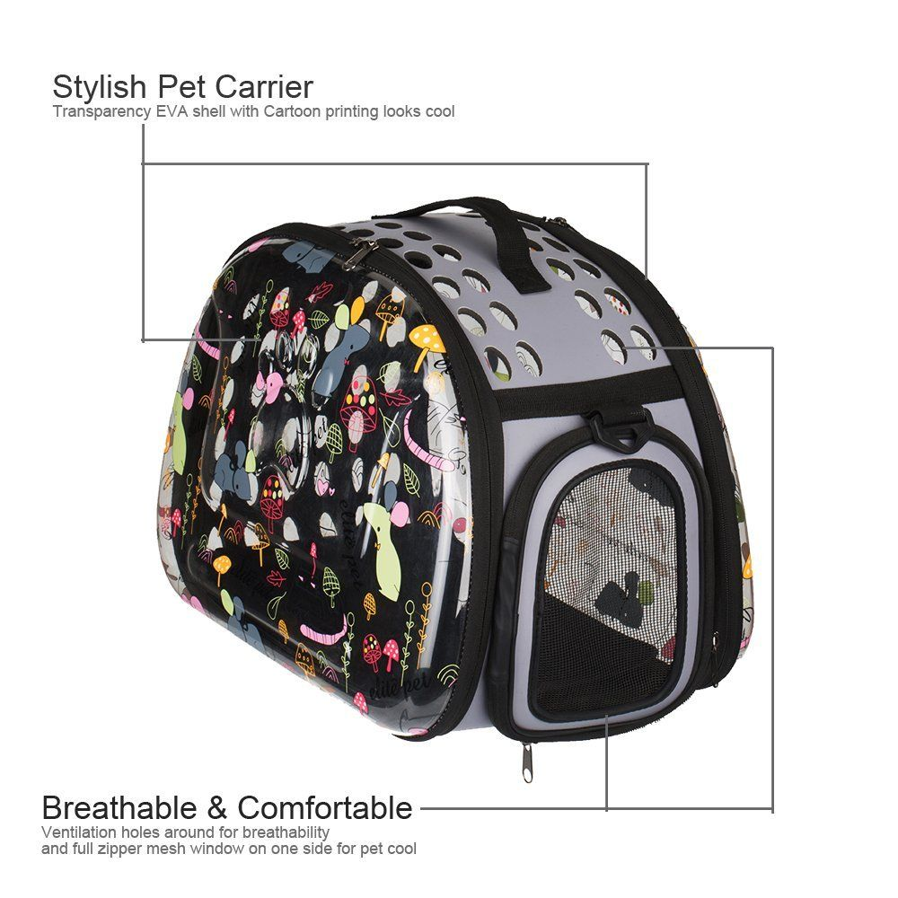 44df3c69f2 Stylish Folding Pet Carrier Portable Comfort Soft Travel Bag Transparency  Cartoon Print Tote Bag for Dog Cat Small Animal -- Tried it! Love it!