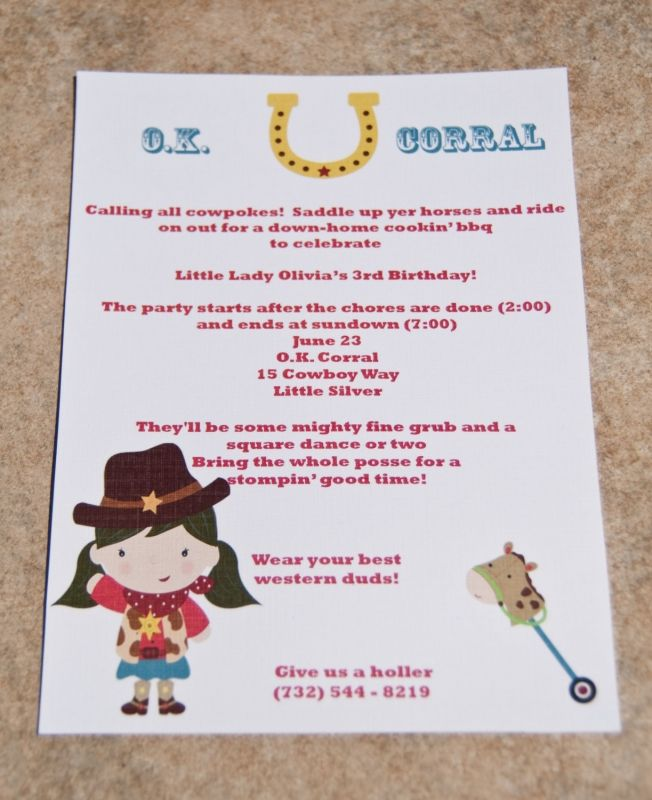 Western Party Invitations Wording