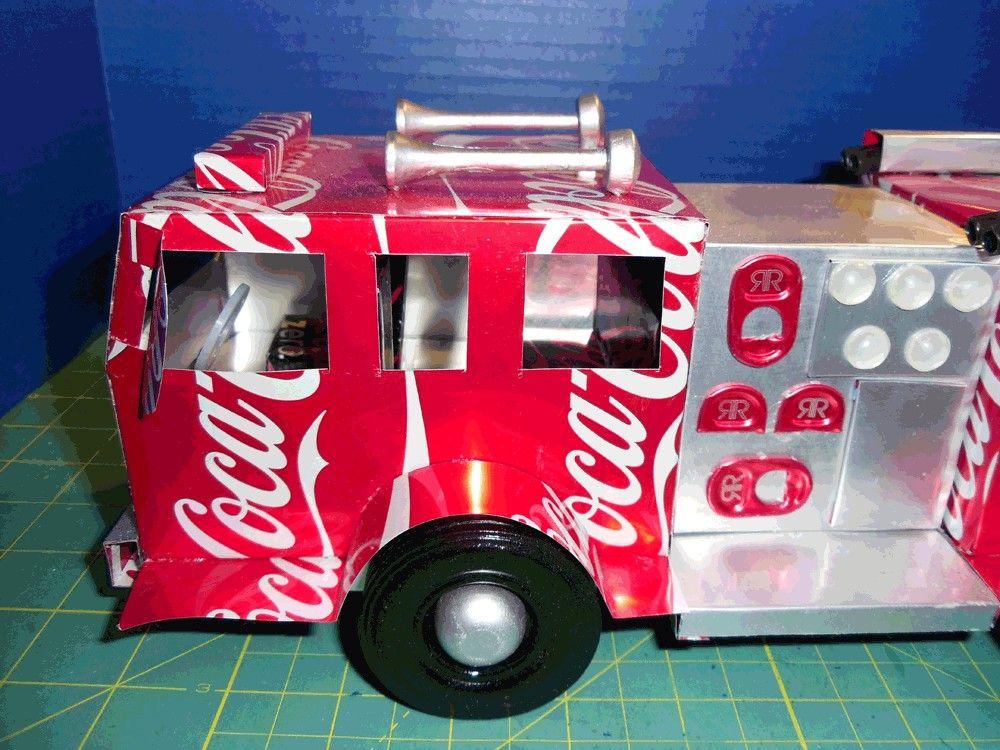 Coke Cola Soda Can Art Pumper Fire Truck By Sodaplanescom On Etsy 100 00 Usd Via Etsy Coke Can Crafts Soda Can Crafts Soda Can Art