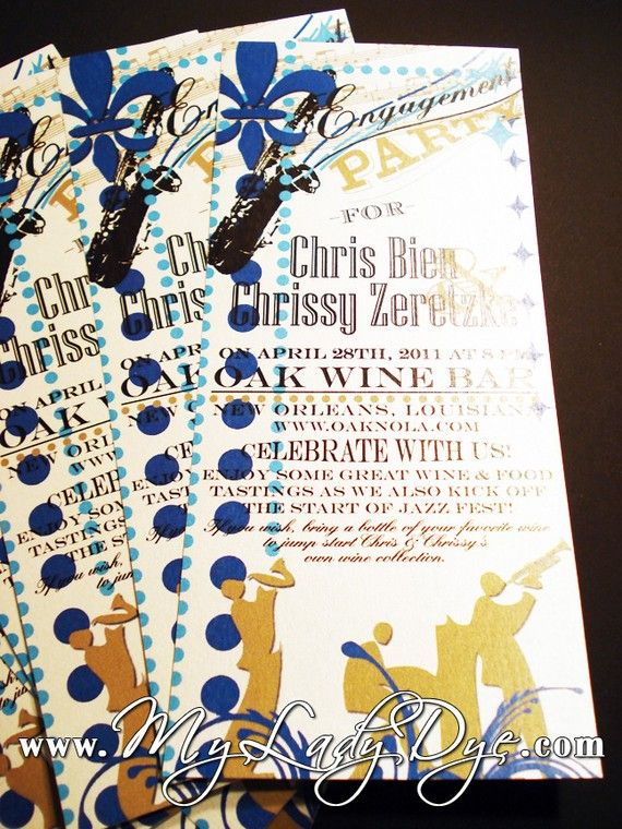 25 Festive New Orleans Jazz Saxaphone Engagement Invitations With