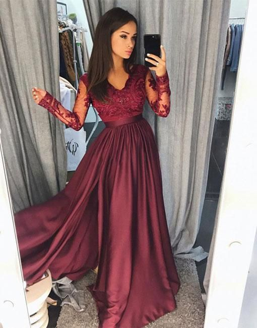 Long Sleeve Lace Dark Red Side Slit A Line Long Evening Prom Dresses