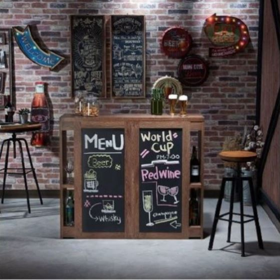 Industrial Bar Cabinet Mini Table Liquor With Wine Storage Chalkboard  Rustic #FOA