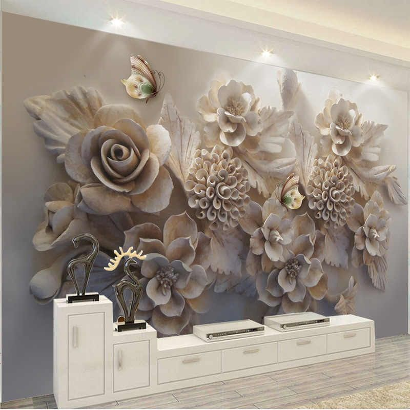 Custom Mural 3d Wallpaper European Aesthetic Three Dimensional Relief 3d Flower Butterfly Living Room Sofa Background Wallpaper Aliexpress Custom Murals Wall Wallpaper 3d Wallpaper