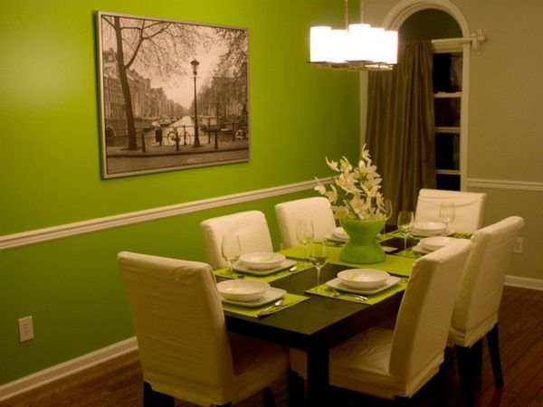green wall color table and white chairs in the dining room ...