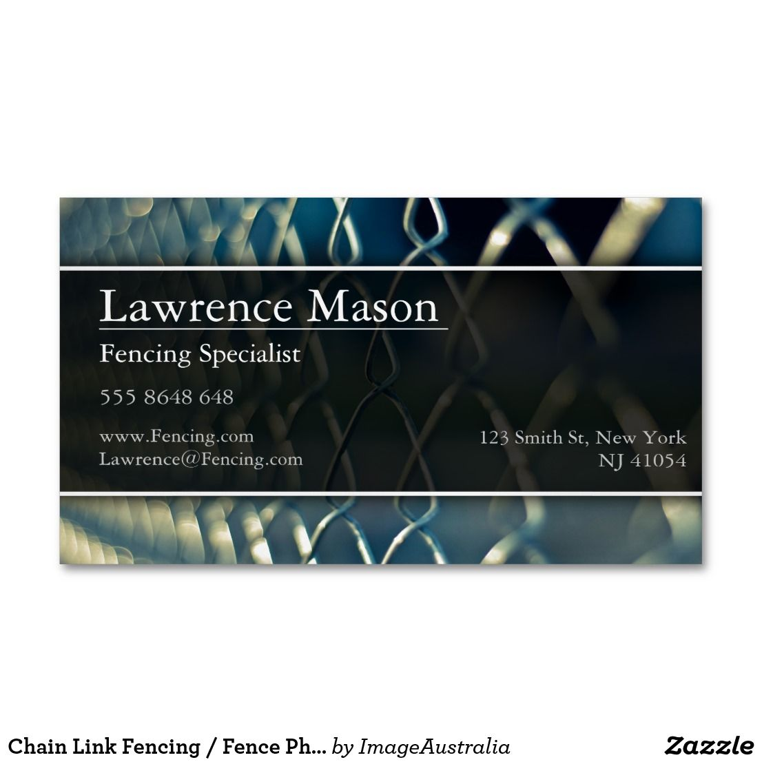 Chain Link Fencing Fence Photo Business Card Magnetic Business Cards Printing Business Cards Photo Business Cards