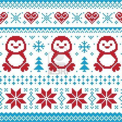 Weihnachten und Winter Strickmuster, card - scandynavian Pullover ...