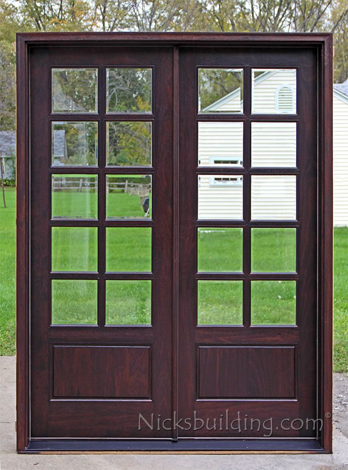 8ft Tall Patio Doors With Ten 10 Single Lite Clear Beveled Glass French Doors Exterior Mahogany Exterior Doors Patio Doors
