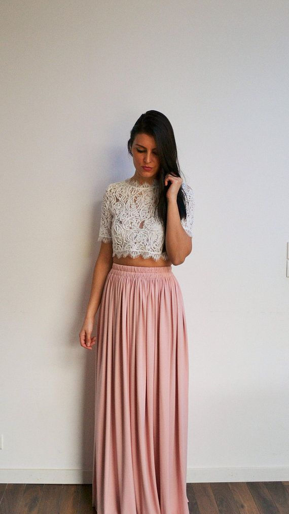 long bohemian skirt pink blush clear flowing pleated high waist long skirt bridesmaid skirt. Black Bedroom Furniture Sets. Home Design Ideas