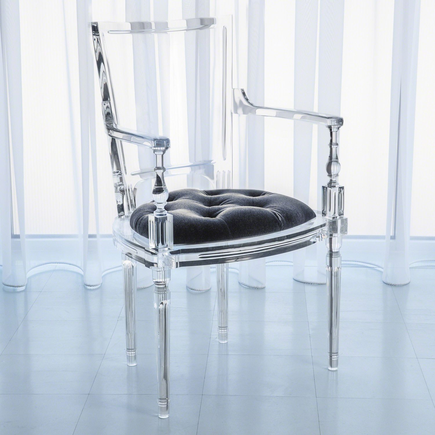 Global Views Marilyn Acrylic Pewter Gray Arm Chair Zinc