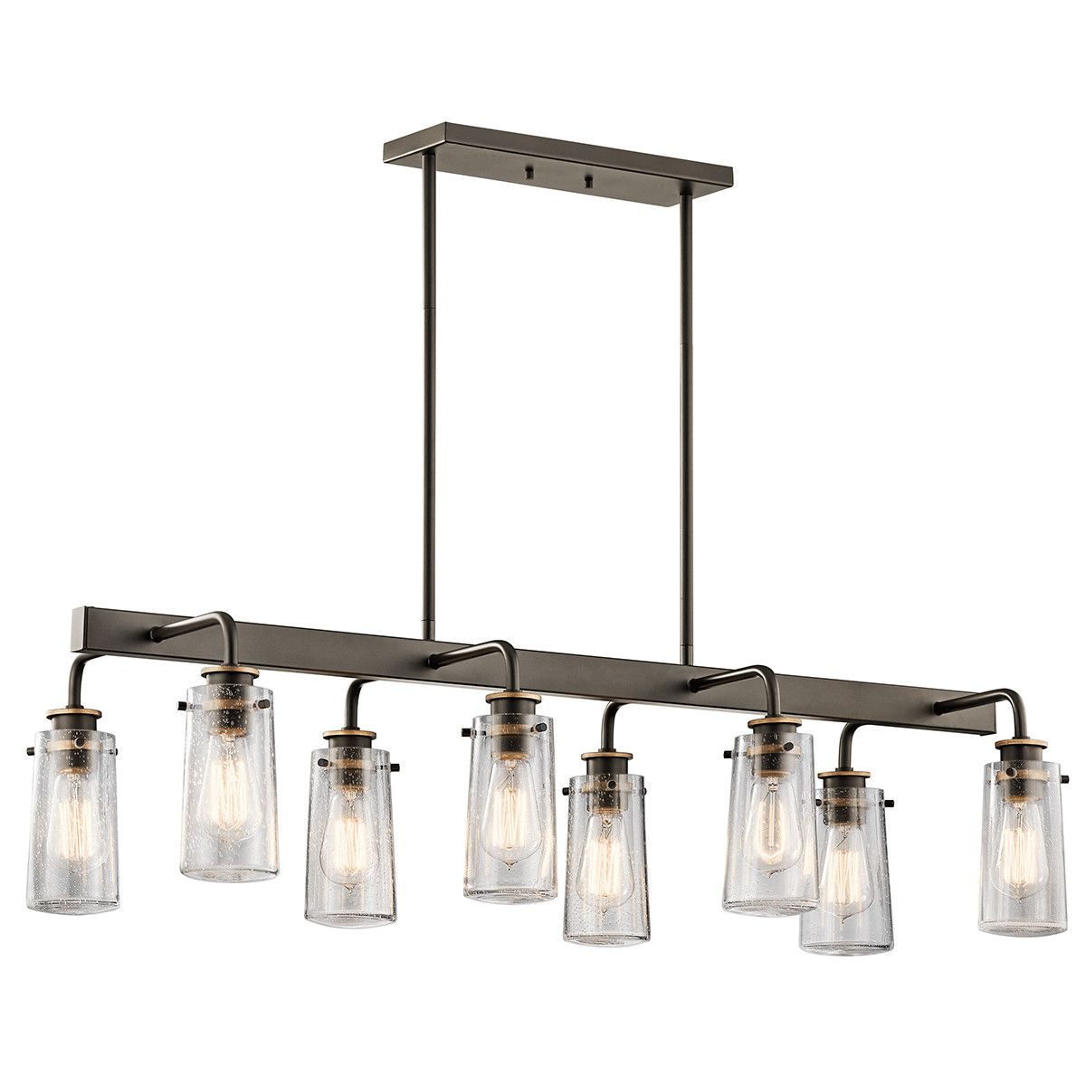 Features:  -Braelyn collection.  -Number of lights: 8.  -Finish: Bronze.  -Shade type: Clear seeded.  -Dry location listed.  -Bulb type: 60W Medium bulb (not included).  Chandelier Type: -Linear Chand