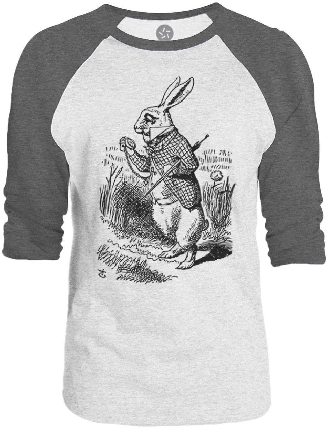 Big Texas Alice in Wonderland - The White Rabbit (Black) 3/4-Sleeve Raglan Baseball T-Shirt