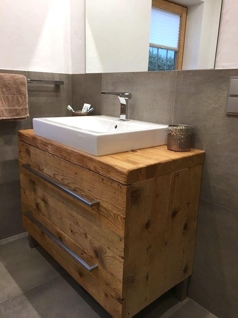 Waschtisch aus Altholz Massivholz - unser Liebling fürs Bad
