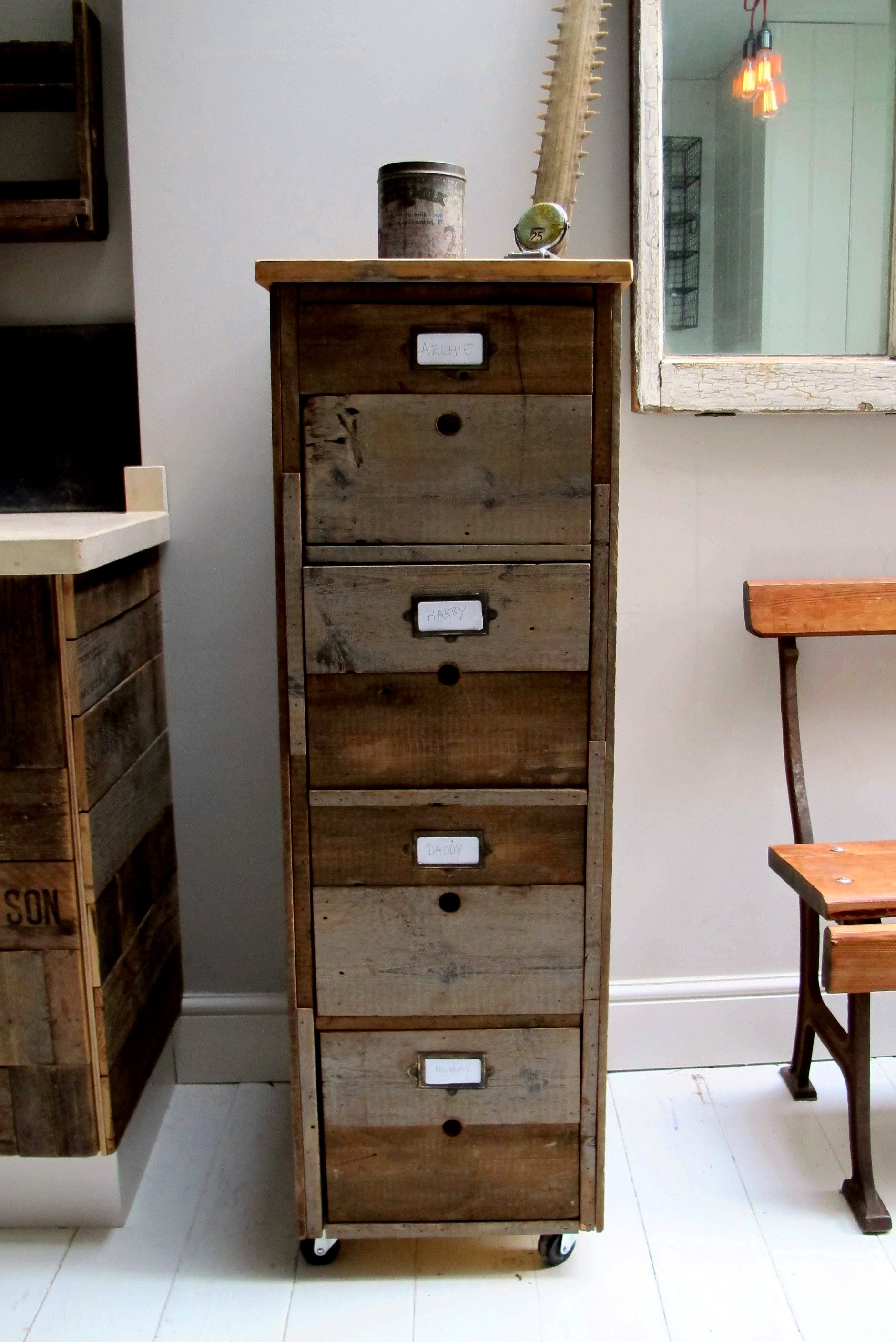 Quirky Filing Cabinet, unusual storage, industrial feel.