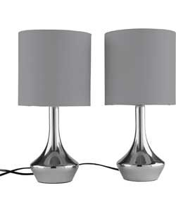 Pair Of Touch Table Lamps With Smoke Grey Lampshades.