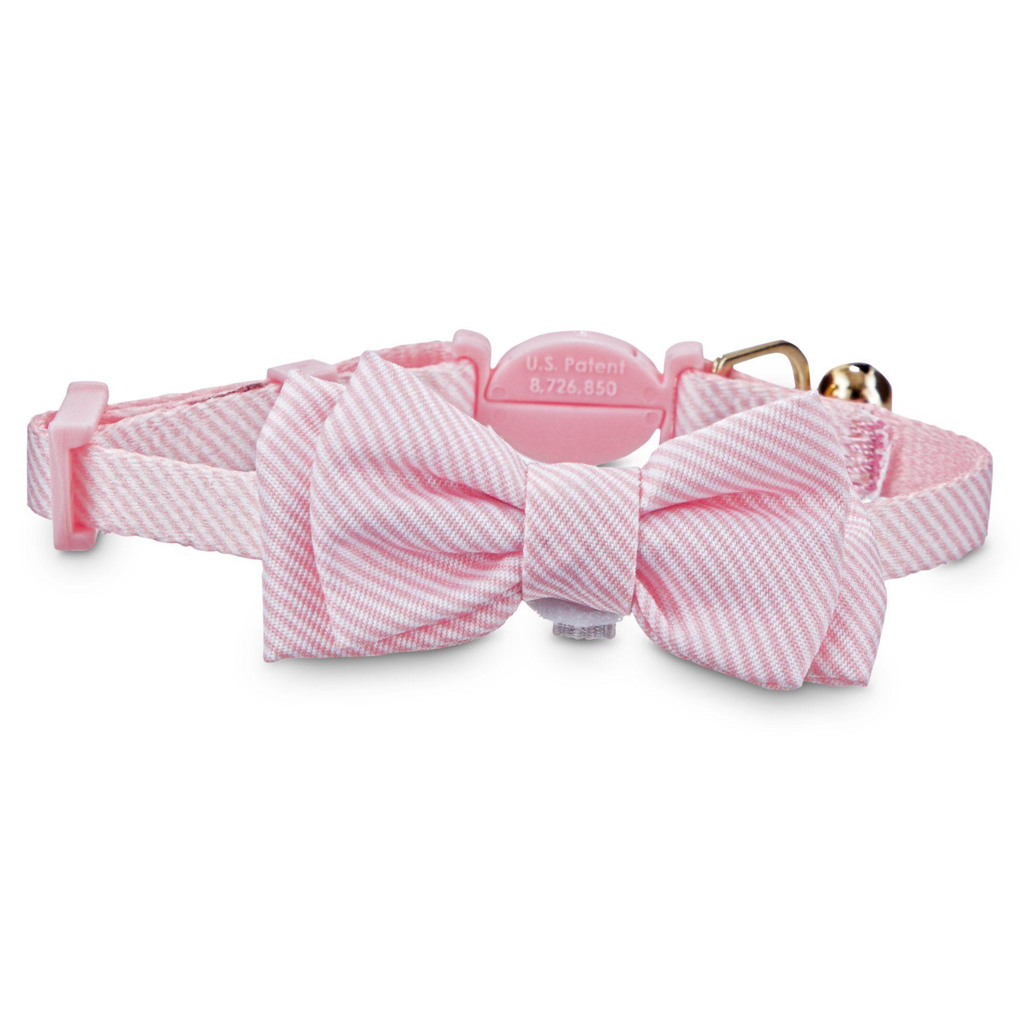 Bond Co Pink Seersucker Breakaway Bowtie Kitten Collar Petco Kitten Collars Kitten Accessories Pink Seersucker