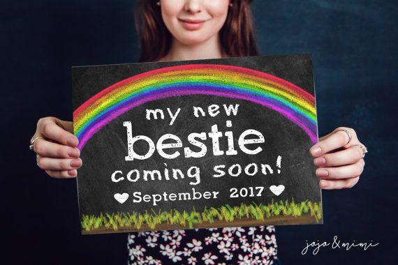 Custom 'my new bestie coming soon' Due Date Printable by JoJoMiMi