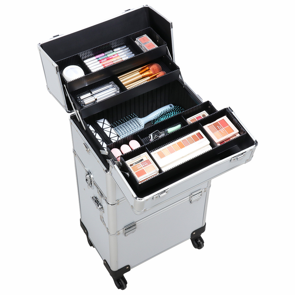 SmileMart Pro Rolling Makeup Case, Aluminum Cosmetic
