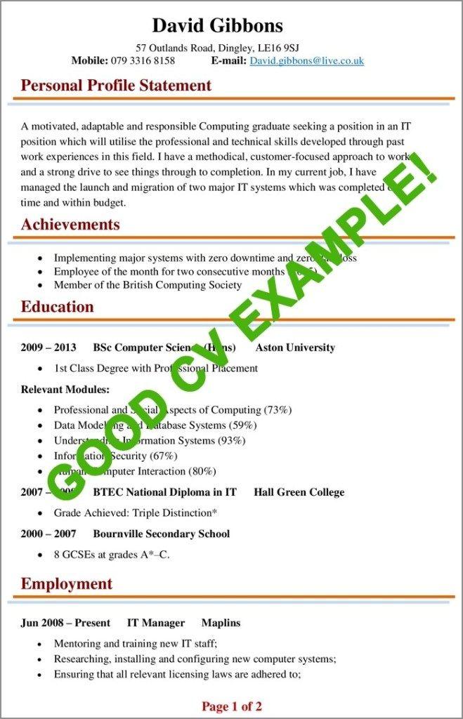 Cv Examples Example Of A Good Cv Biggest Mistakes To In 2020 Good Cv Cv Examples Good Resume Examples