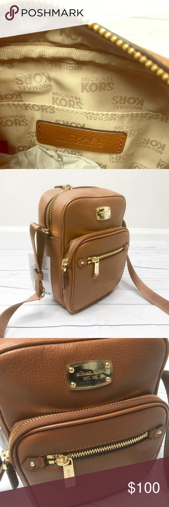 7550cc10b5 MICHAEL KORS CAMEL LEATHER FLIGHT MESSENGER BAG Brand new Bedford Camel  color messenger bag Michael Kors Bags Travel Bags