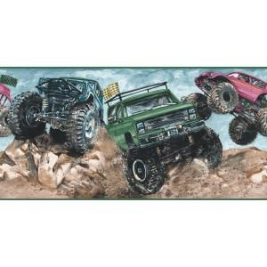The Wallpaper Company 10 25 In X 15 Ft Jewel Tone Monster Truck