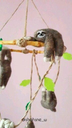 Sloth gift, Sloth mobile, Custom mobile, Personalized mobile, Needle Felt Sloth, Sloth figurine